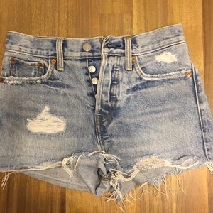 Distressed Levi's high-waisted shorts